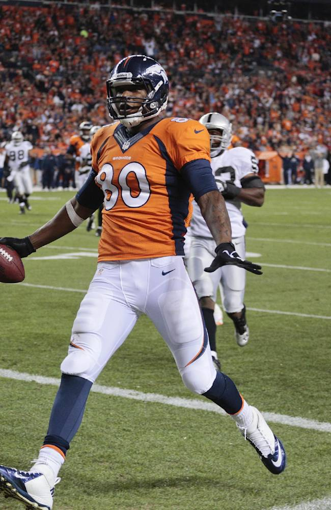 Denver Broncos tight end Julius Thomas (80) crosses the goal line for a touchdown against the Oakland Raiders in the second quarter of an NFL football game, Monday, Sept. 23, 2013, in Denver