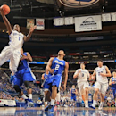 Creighton guard Austin Chatman drives to the basket against Drake in a quarterfinal game at the NCAA college basketball Missouri Valley Conference tournament in St. Louis, Friday, March 8, 2013. (AP Photo/St. Louis Post-Dispatch, Chris Lee)