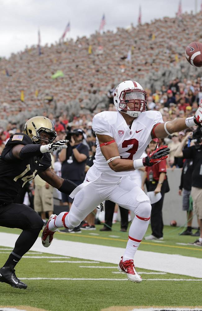 Stanford wide receiver Michael Rector (3) can't make the catch in front of Army defensive back Chris Carnegie (14) during the first half of an NCAA college football game on Saturday, Sept. 14, 2013, in West Point, N.Y