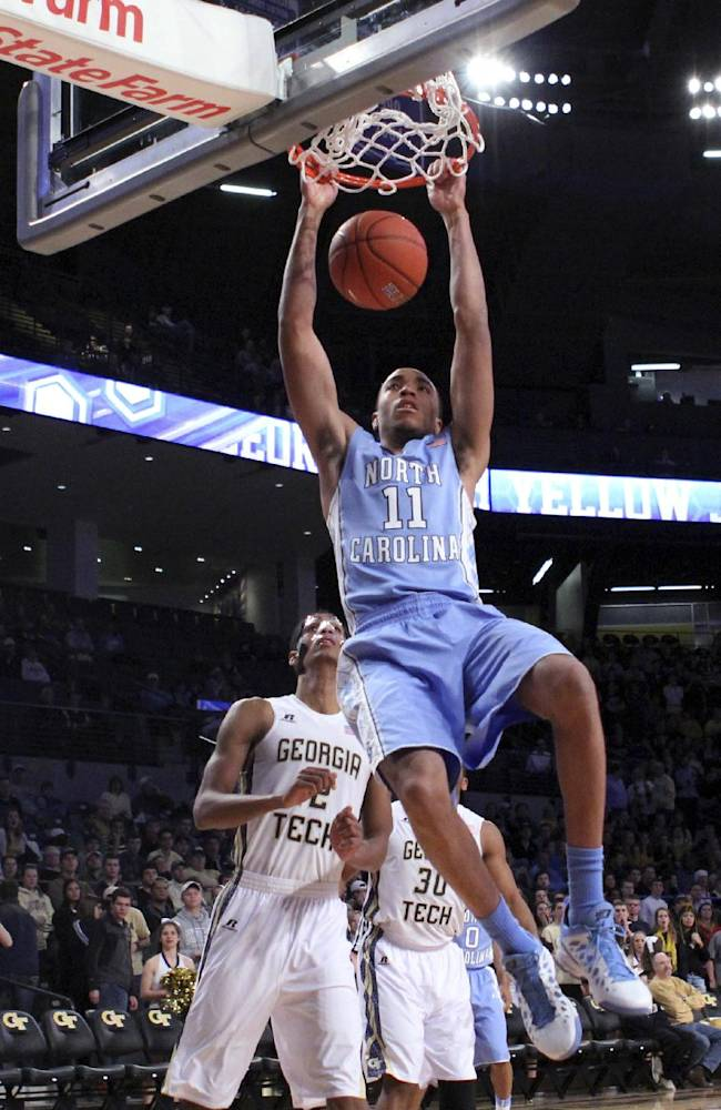 North Carolina forward Brice Johnson (11) dunks as Georgia Tech forward Quinton Stephens watches in the first half of an NCAA college basketball game Wednesday, Jan. 29, 2014, in Atlanta
