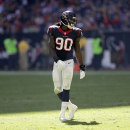 Houston Texans outside linebacker Jadeveon Clowney (90) lines up against the Cincinnati Bengals during the second quarter of an NFL football game, Sunday, Nov. 23, 2014, in Houston. (AP Photo/David J. Phillip)