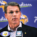 Vikings general manger Rick Spielman talks with reporters about the decision to allow Adrian Peterson to play on Sunday against Saints. (AP)