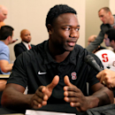 Stanford wide receiver Ty Montgomery speaks to the media during the annual Bay Area College Football media day at Levi's Stadium on Wednesday, July 30, 2014, in Santa Clara, Calif. (AP Photo/Alex Washburn)