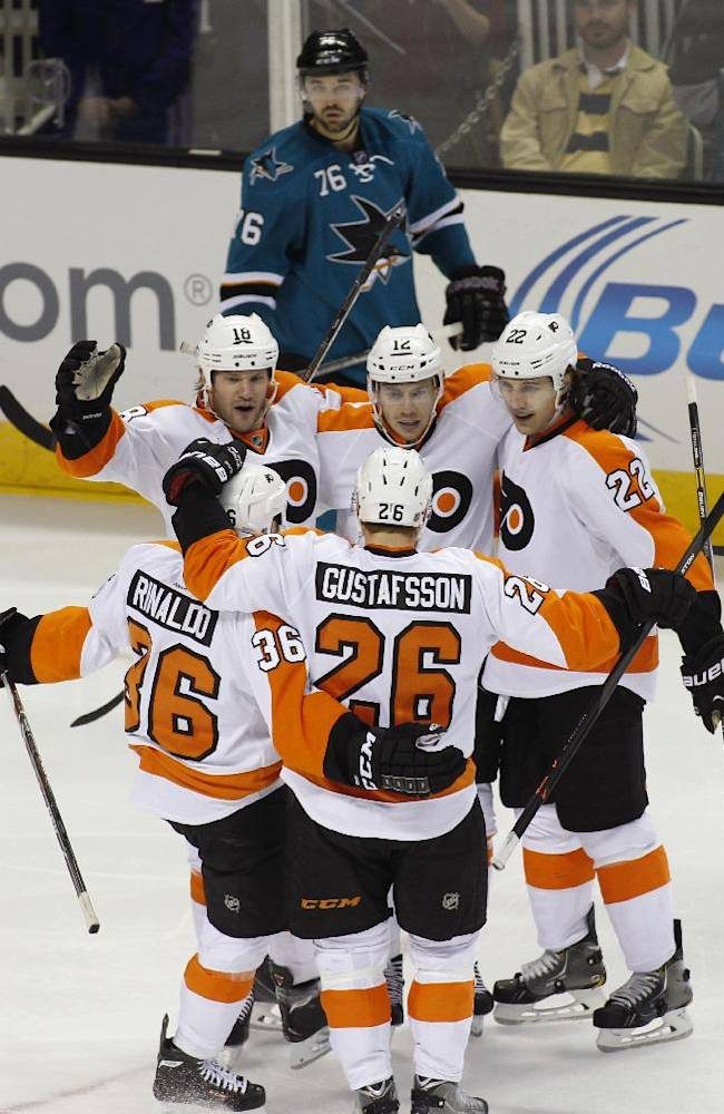 Flyers score 4 in 3rd to rally past Sharks 5-2