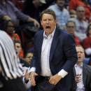 UTEP coach Tim Floyd shows his reaction to a call by an official during the first half of an NCAA college basketball game against Louisiana Tech on Thursday, Feb. 26, 2015, in Ruston, La. (AP Photo/Kita Wright)