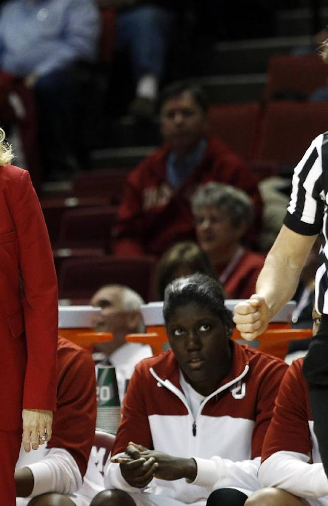 Oklahoma head coach Sherri Coale argues with an official during the first half of an NCAA college basketball game in Norman, Okla., Feb. 3, 2014