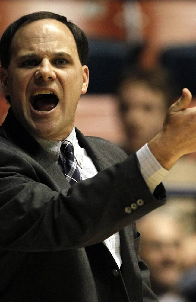 Richmond head women's basketball coach Michael Shafer yells at a referee during the first half of an NCAA college basketball game against Xavier in Richmond, Va., Wednesday, Feb. 9, 2011