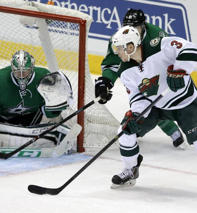 Minnesota Wild goalie Niklas Backstrom (32) defends against pressure from Minnesota Wild's Charlie Coyle (3)  in the third period of an NHL hockey game, Tuesday, Jan. 21, 2014, in Dallas. The Stars won 4-0