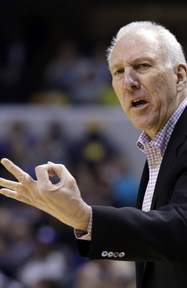San Antonio Spurs head coach Gregg Popovich looks for a three second call in the first half of an NBA basketball game against the Indiana Pacers in Indianapolis, Monday, March 31, 2014