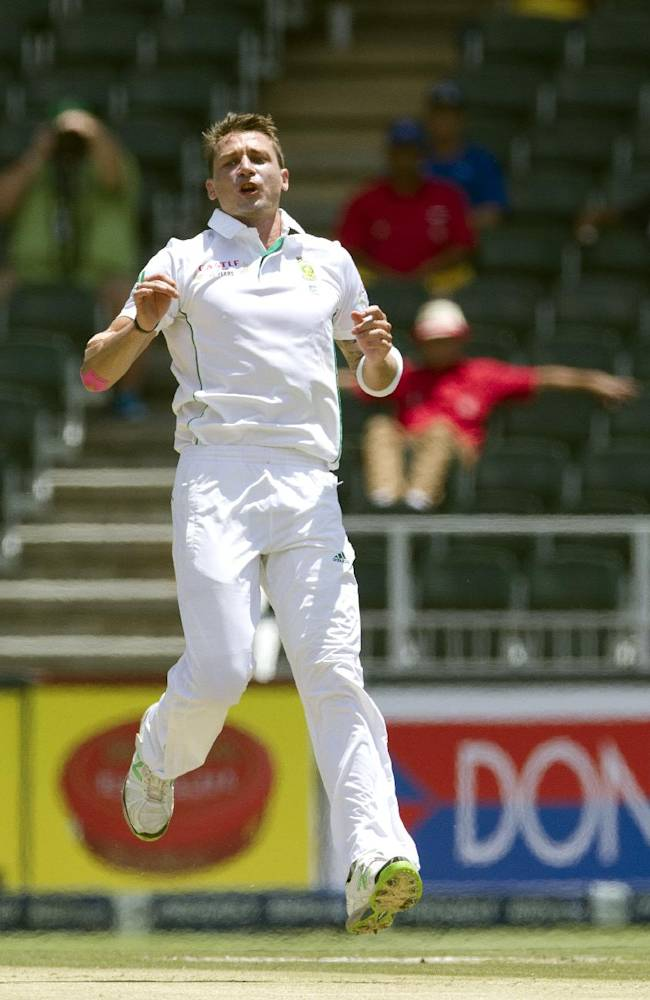 South Africa's bowler Dale Steyn reacts during the first day of their cricket test match against India at Wanderers stadium in Johannesburg, South Africa, Wednesday, Dec. 18, 2013