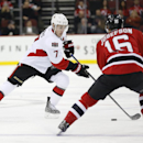 Ottawa Senators center Kyle Turris (7) skates against New Jersey Devils center Jacob Josefson (16), of Sweden, during the first period of an NHL hockey game, Tuesday, Feb. 3, 2015, in Newark, N.J The Associated Press
