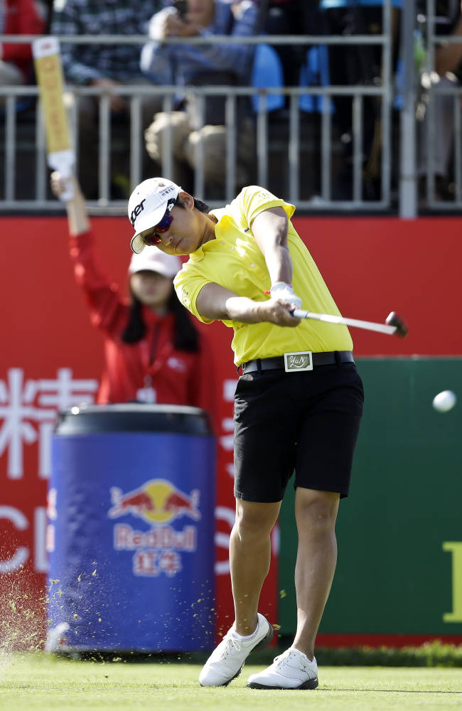 Taiwan's Yani Tseng tees off on the first hole during the first round of the Reignwood LPGA Classic golf tournament at Pine Valley Golf Club on the outskirts of Beijing, China, Thursday, Oct. 3, 2013