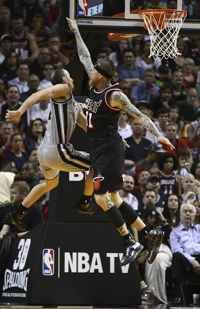 Miami Heat's Chris Andersen (11) forces San Antonio Spurs' Manu Ginobili (20) to pass the ball off during the second half of an NBA basketball game in Miami, Sunday, Jan. 26, 2014. The Heat won 113-101