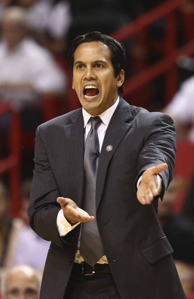 Miami Heat's coach Erik Spoelstra protests a penalty call during the first half of an NBA basketball game in Miami against the Los Angeles Clippers, Thursday, Nov. 7, 2013