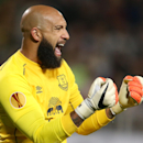 Everton's goalkeeper Tim Howard gestures during the Europa League Group H soccer match between Krasnodar and Everton in Krasnodar, Russia, Thursday, Oct. 2, 2014