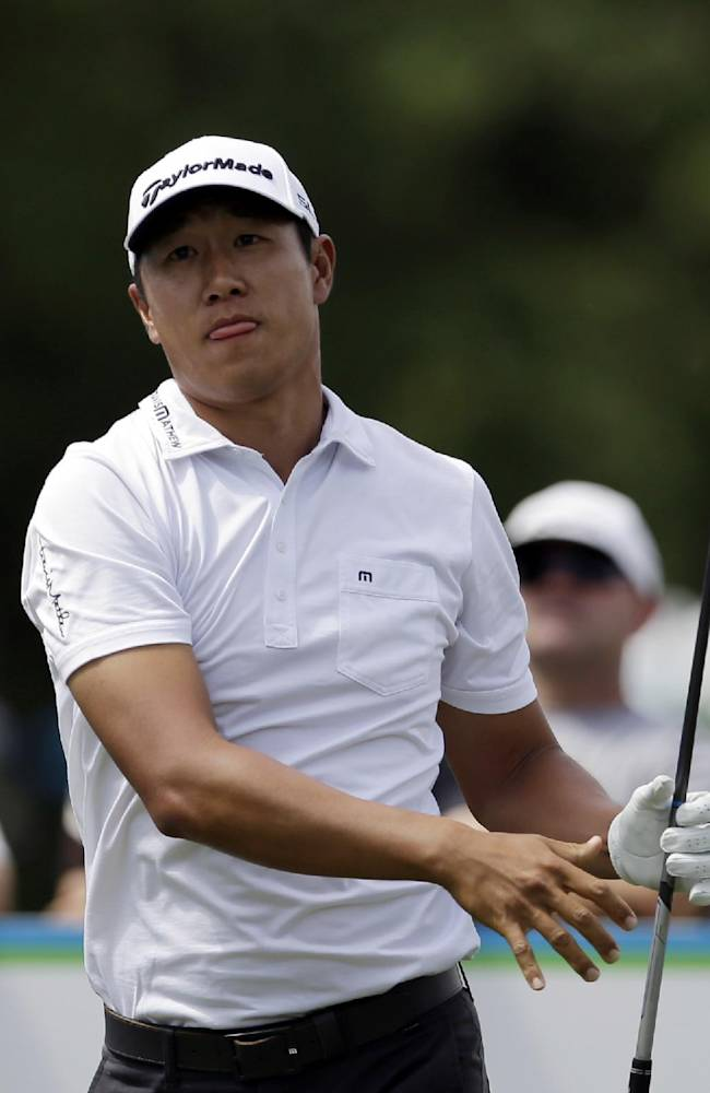James Hahn watches his tee shot off the 16th hole during the third round of the Byron Nelson Championship golf tournament, Saturday, May 17, 2014, in Irving, Texas. Hahn finished the round at 9 under par