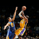 ONTARIO, CA - OCTOBER 12: Kobe Bryant #24 of the Los Angeles Lakers shoots the ball against Klay Thompson #11 of the Golden State Warriors on October 12, 2014 at Citizens Business Bank Arena in Ontario, California. (Photo by Noah Graham/NBAE via Getty Images)