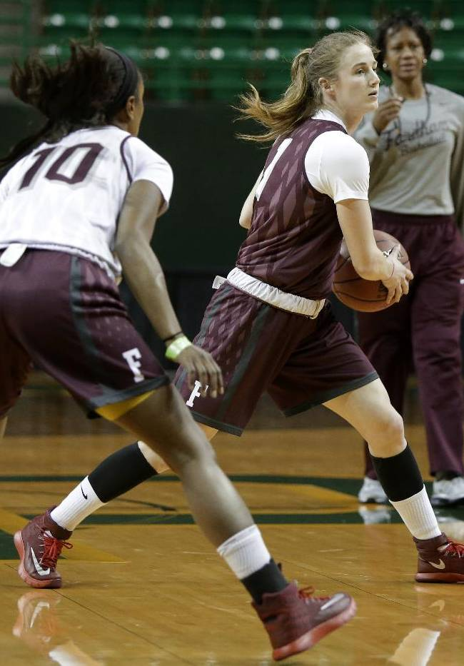 Fordham's Briana Jordan defends as Erin Rooney moves the ball up court during practice for the NCAA women's college basketball tournament, Friday, March 21, 2014, in Waco, Texas. Fordham plays against California in a first-round game on Saturday