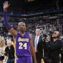 INDIANAPOLIS, IN - FEBRUARY 8: Kobe Bryant #24 of the Los Angeles Lakers waves to fans after the game against the Indiana Pacers at Bankers Life Fieldhouse on February 8, 2016 in Indianapolis, Indiana. The Pacers defeated the Lakers 89-87. NOTE TO USER: User expressly acknowledges and agrees that, by downloading and or using the photograph, User is consenting to the terms and conditions of the Getty Images License Agreement. (Photo by Joe Robbins/Getty Images)