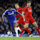Liverpool's Steven Gerrard, right, battles for the ball with Chelsea's Willian during the English League Cup semifinal second leg soccer match between Chelsea and Liverpool at Stamford Bridge stadium in London, Tuesday, Jan. 27, 2015