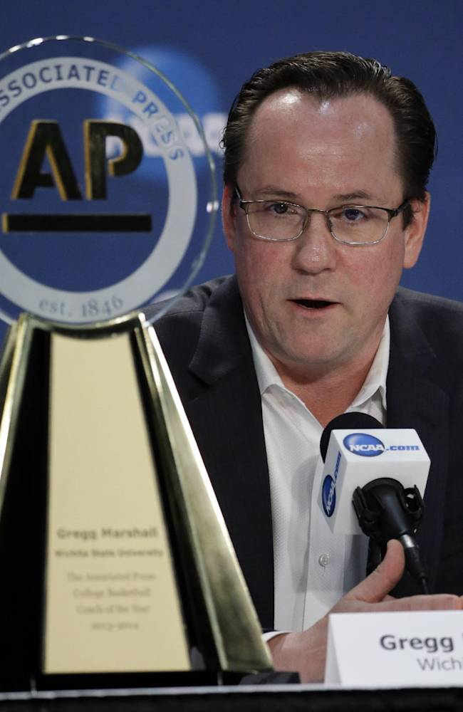 Wichita State's head coach Gregg Marshall speaks at a news conference Thursday, April 3, 2014, in Dallas. Marshall was named the AP College Basketball Coach of the Year