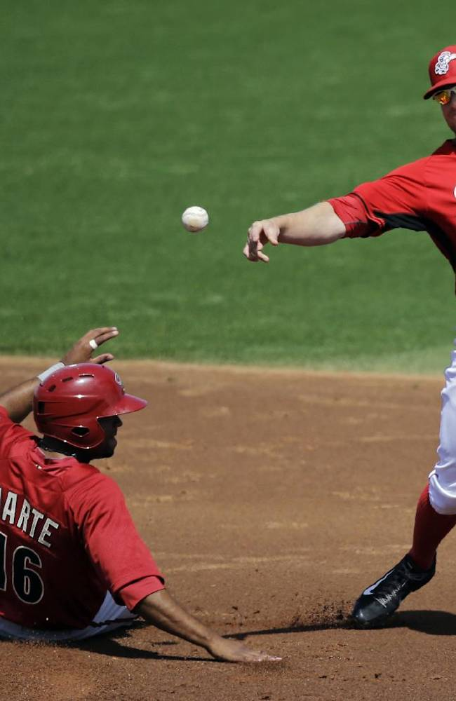 Cincinnati Reds shortstop Zack Cozart, right, throws over Arizona Diamondbacks' Andy Marte, left, to complete a double play on Jordan Parraz in the second inning of a spring exhibition baseball game on Thursday, March 27, 2014, in Goodyear, Ariz