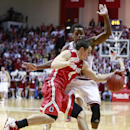 Ohio State guard Aaron Craft, left, collides with Indiana guard Kevin