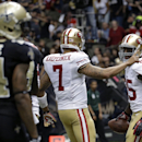 San Francisco 49ers tight end Vernon Davis (85) celebrates his touchdown reception with quarterback Colin Kaepernick (7) in the second half of an NFL football game against the New Orleans Saints in New Orleans, Sunday, Nov. 17, 2013 The Associated Press
