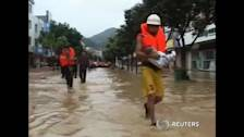 Hundreds trapped by floods