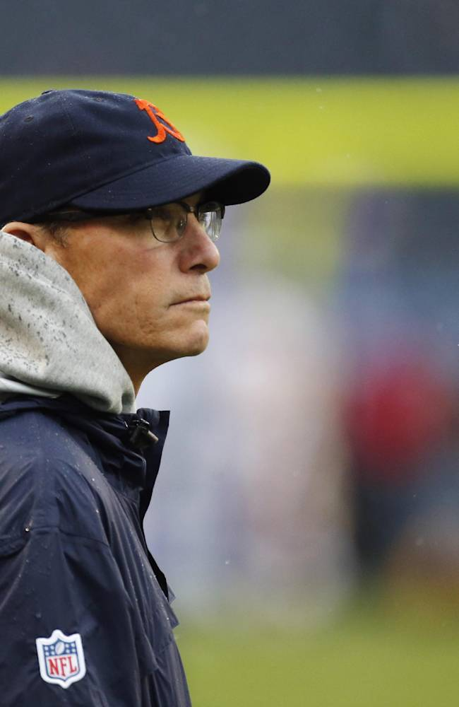 Chicago Bears head coach Marc Trestman watches his team during warm-ups before an NFL football game against the Minnesota Vikings, Sunday, Sept. 15, 2013, in Chicago