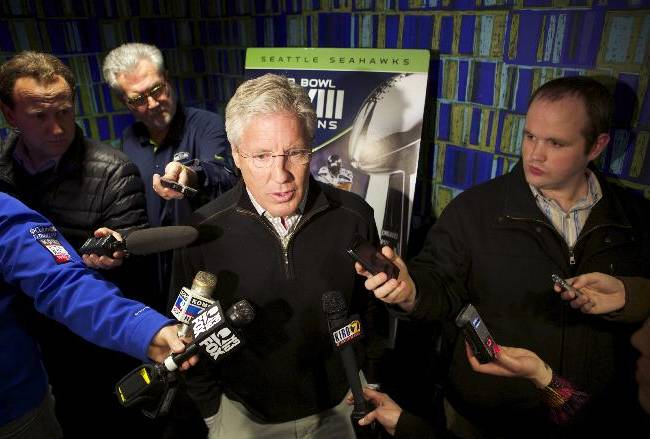 Seattle Seahawks head coach Pete Carroll addresses the media before the premiere of NFL Films'