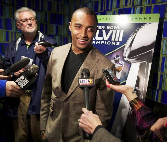 Seattle wide receiver Doug Baldwin answers questions before the premiere of NFL Films'