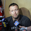 New Jersey Devils goaltender Martin Brodeur talks to the media as the NHL hockey team clean out their lockers Monday, April 14, 2014, in Newark, N.J The Associated Press