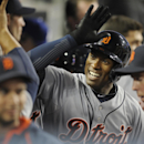 Detroit Tigers' Austin Jackson celebrates in the dugout after scoring off of a home run hit during the second inning of a baseball game against the Los Angeles Dodgers in Los Angeles, Tuesday, April 8, 2014 The Associated Press