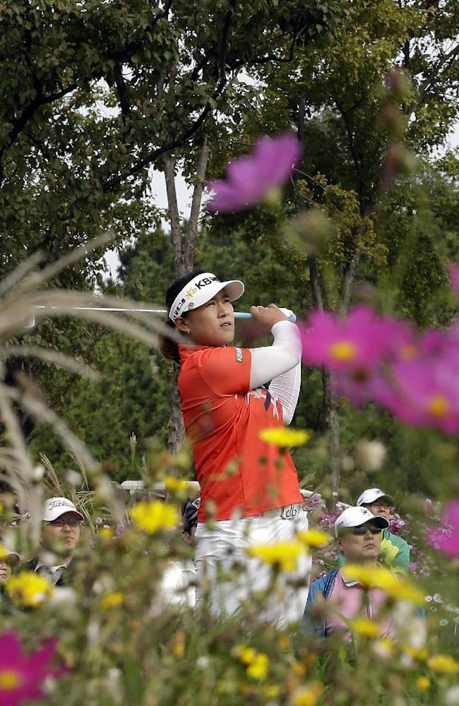 Amy Yang of South Korea watches her shot on the third hole during the second round of the LPGA KEB Hana Bank Championship golf tournament at Sky72 Golf Club in Incheon, west of Seoul, South Korea, Saturday, Oct. 19, 2013. Yang finished her second round with a six-under par 138