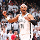 Paul Pierce #34 of the Brooklyn Nets gets excited against the Toronto Raptors during Game Six of the Eastern Conference Quarterfinals at Barclays Center on May 2, 2014 in the Brooklyn borough of New York City. (Photo by Nathaniel S. Butler/NBAE via Getty Images)