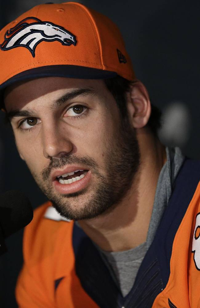 In this Jan. 30, 2014 file photo, Denver Broncos wide receiver Eric Decker talks with reporters during a news conference in Jersey City, N.J. NFL free agency begins Tuesday, March 11, 2014, with each team having another $10 million or so to spend thanks to the increased salary cap. Such standouts as receivers Eric Decker and Julian Edelman, defensive end Michael Bennett and cornerback Alterraun Verner figure to draw quick attention