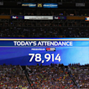 Attendance count on Tuesday,July,28, 2015, in Landover, Maryland. Chelsea and FC Barcelona face off at the 2015 International Champions Cup. Damian Strohmeyer/AP Images for International Champions Cup