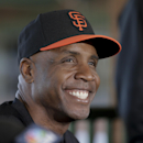 Former San Francisco Giants baseball player Barry Bonds speaks at a news conference before a spring training baseball game in Scottsdale, Ariz., Monday, March 10, 2014. Bonds starts a seven day coaching stint today. (AP Photo/Chris Carlson)