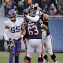 Chicago Bears quarterback Jay Cutler (6) celebrates with teammates after throwing a touchdown pass to receiver Brandon Marshall during the first half of an NFL football game against the Minnesota VikingsSunday, Nov. 16, 2014 in Chicago. At left is Minneso