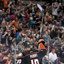 The Ducks' Corey Perry celebrates his second hat trick of the season after scoring an empty net goal against the Buffalo Sabres at Honda Center Wednesday night Oct. 22, 2014 The Associated Press