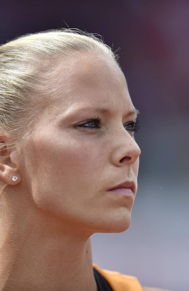 Netherlands' Nadine Broersen concentrates during the high jump of the women's heptathlon during the European Athletics Championships in Zurich, Switzerland, Thursday, Aug. 14, 2014
