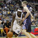Memphis Grizzlies forward Zach Randolph (50) drives against Charlotte Bobcats center Cody Zeller (40) in the second half of an NBA basketball game Saturday, March 8, 2014, in Memphis, Tenn. The Grizzlies won 111-89 The Associated Press