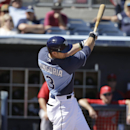 Tampa Bay Rays' Evan Longoria swings at a pitch by Minnesota Twins pitcher Ricky Nolasco in the first inning of a spring exhibition baseball game on Sunday, March 2, 2014, in Port Charlotte, Fla The Associated Press