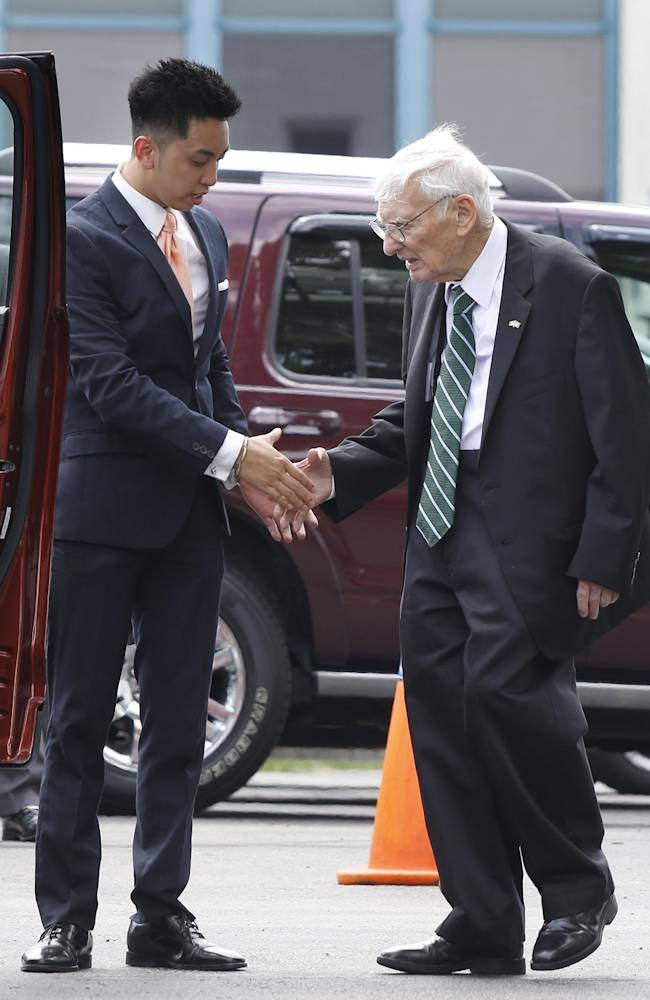 Pittsburgh Steelers Chairman Emeritus Dan Rooney, right, greets a funeral home attendant after leaving a viewing for former Steelers head coach Chuck Noll on Monday, June 16, 2014, in Pittsburgh. Noll, who led the Steelers to four Super Bowl wins in the 1970's, died this week at the age of 82