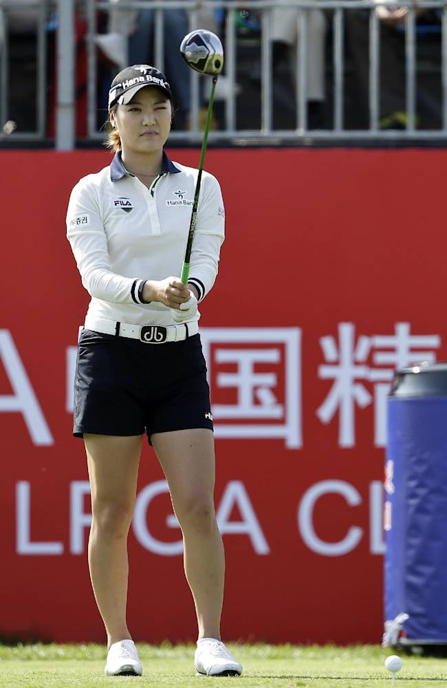 South Korea's So Yeon Ryu prepares to tee off on the first hole during the first round of the Reignwood LPGA Classic golf tournament at Pine Valley Golf Club on the outskirts of Beijing, China, Thursday, Oct. 3, 2013