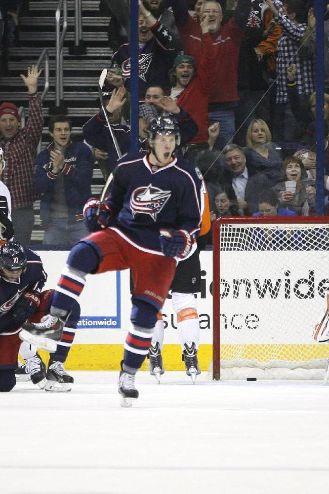 Columbus Blue Jackets' Ryan Johansen (19) celebrates a goal against Philadelphia Flyers goalie Ray Emery (29) during the first period of an NHL hockey game on Saturday, Dec. 21, 2013, in Columbus, Ohio