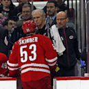 Carolina Hurricanes' Jeff Skinner (53) leaves the ice after crashing into the boards during the second period of an NHL hockey game against the Vancouver Canucks in Raleigh, N.C., Friday, Jan. 16, 2015. Skinner did return and the Hurricanes lost 3-0 The A
