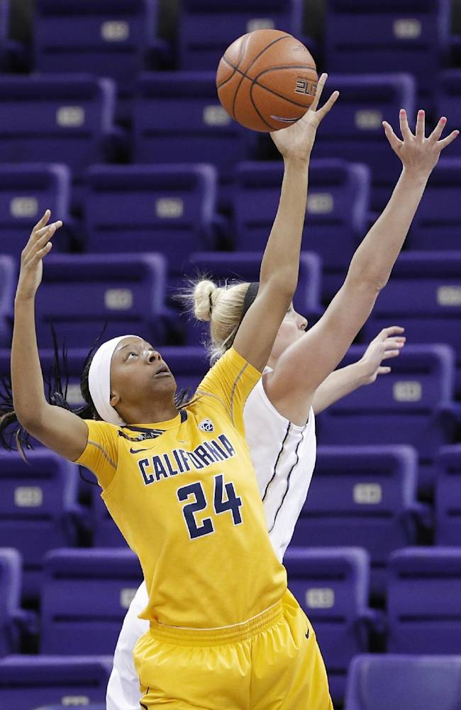 California's Courtney Range (24) grabs a rebound next to Washington's Katie Collier during the first half of an NCAA college basketball game Friday, Feb. 7, 2014, in Seattle