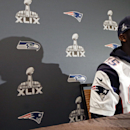 New England Patriots defensive end Chandler Jones answers questions during a news conference Wednesday, Jan. 28, 2015, in Chandler, Ariz. The Patriots play the Seattle Seahawks in NFL football Super Bowl XLIX Sunday, Feb. 1, in Phoenix The Associated Pres